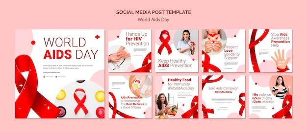 Postagem nas redes sociais do dia mundial da aids Psd Premium