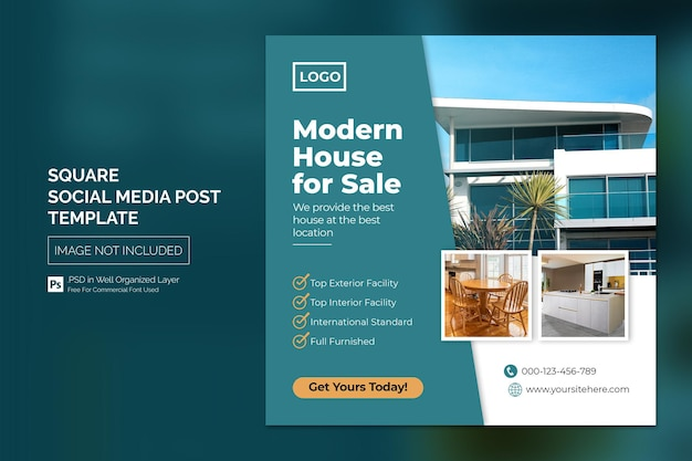Postagem no instagram de imóveis imobiliários ou modelo de publicidade em banner web quadrado Psd Premium