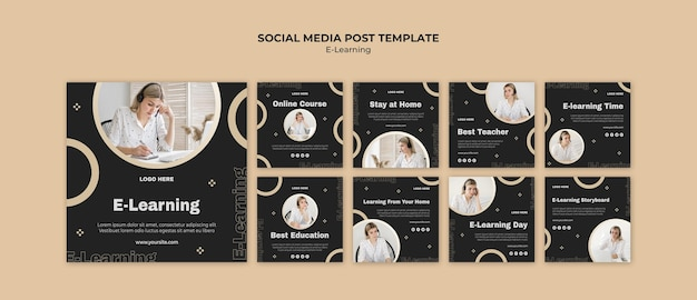 Postagens de aprendizagem online nas redes sociais Psd grátis