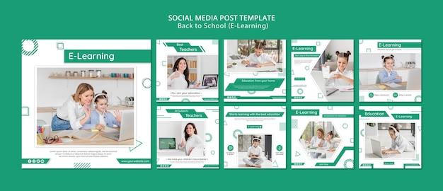 Postagens de mídia social de e-learning Psd Premium