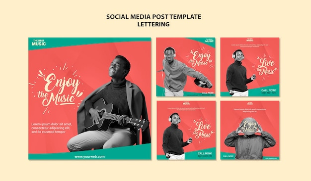 Postagens de mídia social de música Psd grátis
