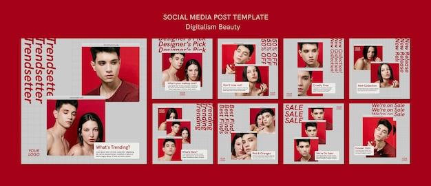Postagens do instagram sobre beleza digitalismo criativo Psd Premium