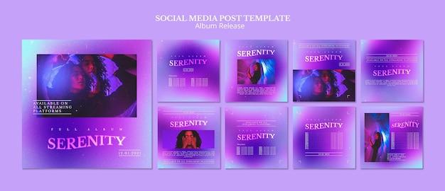 Postagens em mídias sociais de lançamento de álbum Psd grátis