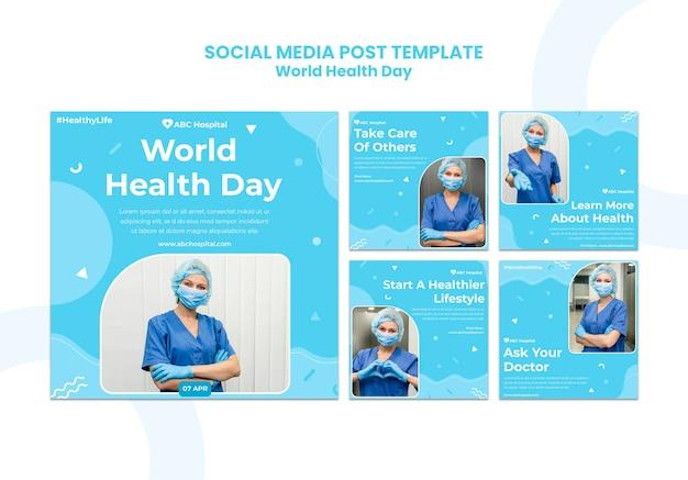 Postagens em mídias sociais do dia mundial da saúde definido Psd grátis