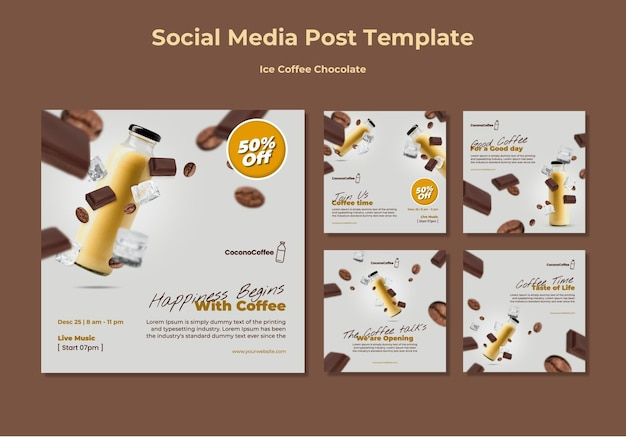 Postagens nas redes sociais de chocolate e café gelado Psd Premium
