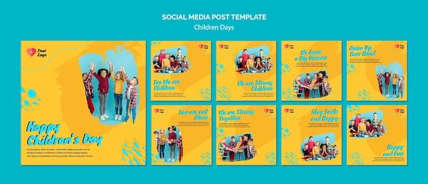 Postagens nas redes sociais do dia das crianças Psd grátis