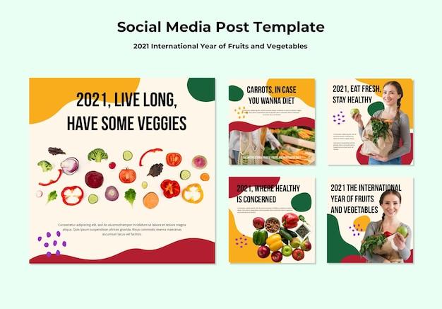 Postagens no instagram do ano internacional de frutas e vegetais Psd grátis