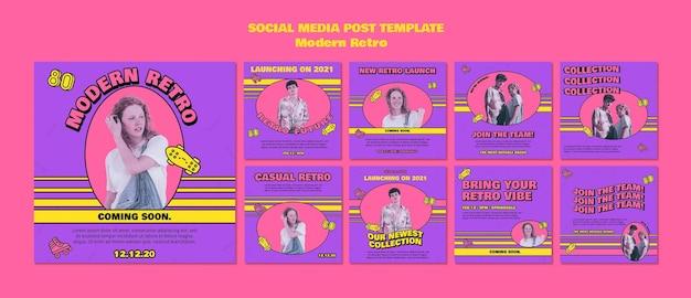 Postagens retrô modernas em mídia social Psd grátis