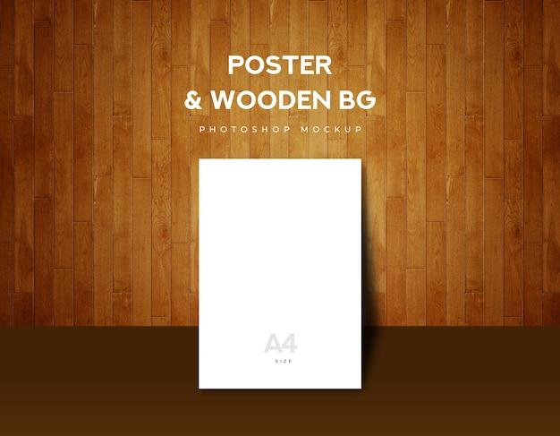 Poster a4 tamanho no fundo de madeira marrom Psd Premium