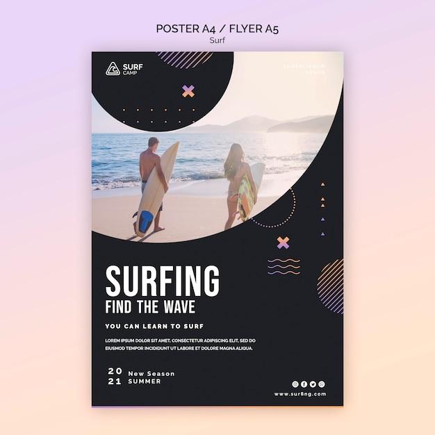 Pôster de aulas de surfe com foto Psd grátis
