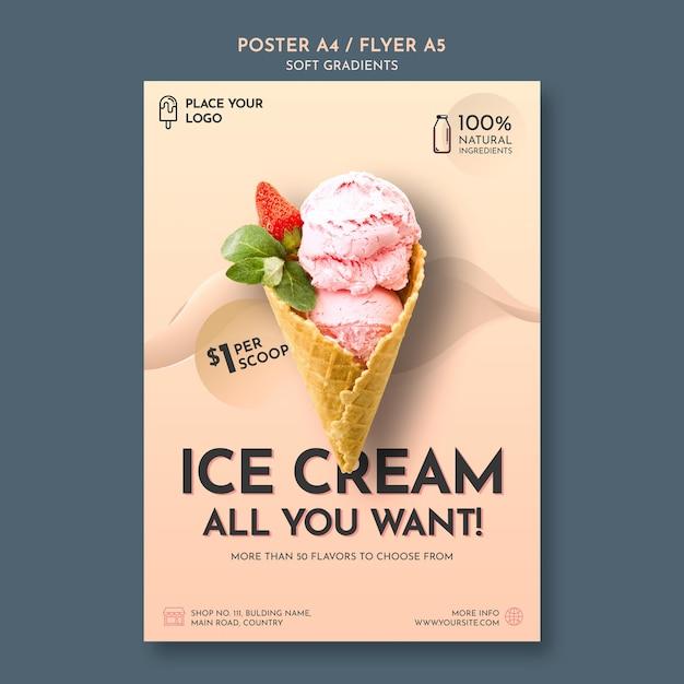 Pôster de sorvete gradiente suave Psd grátis