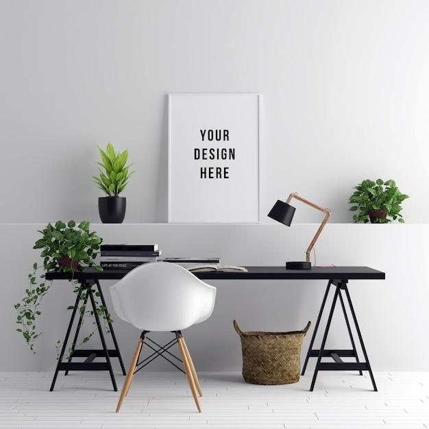 Poster frame mockup interior workspace com decorações Psd Premium