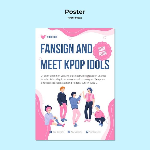 Pôster k-pop com ilustrações Psd grátis