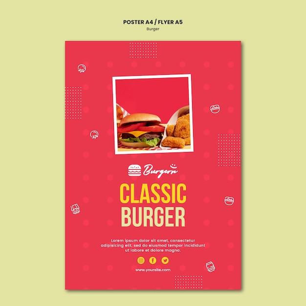 Pôster modelo de hambúrguer restaurante Psd grátis