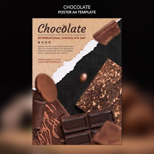 Pôster modelo de loja de chocolates Psd grátis