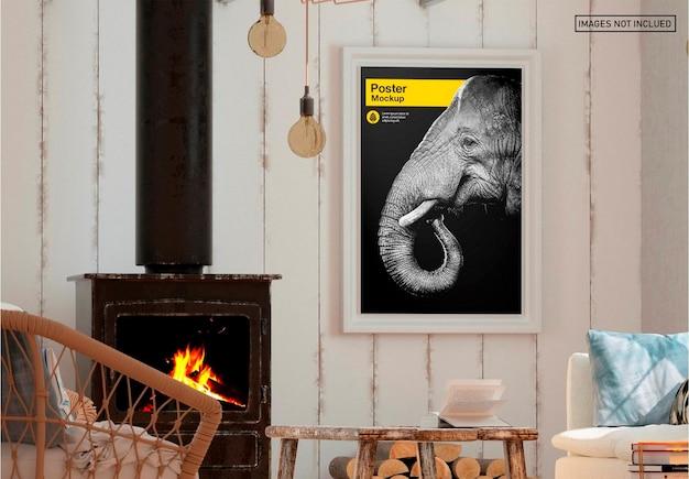 Pôster no design de maquete da sala de estar Psd Premium