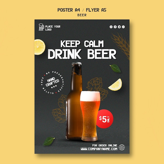 Pôster para beber cerveja Psd grátis