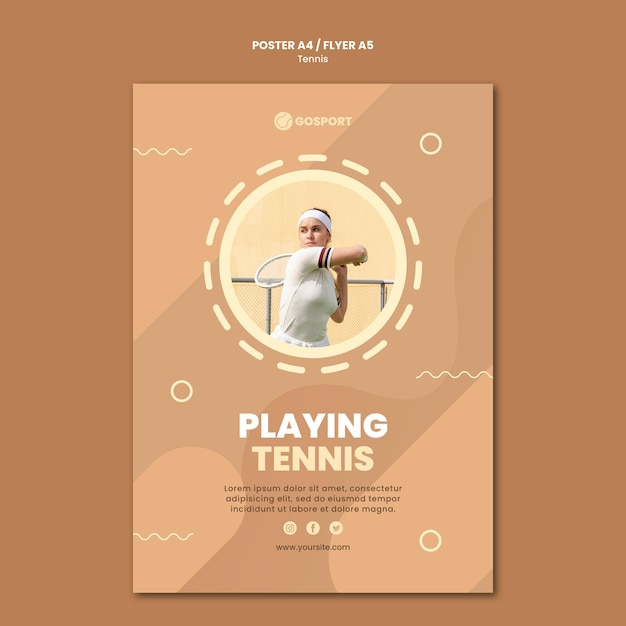 Pôster para jogar tênis Psd grátis