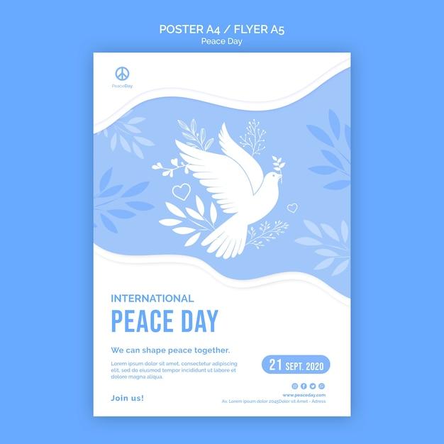 Pôster para o dia da paz Psd grátis