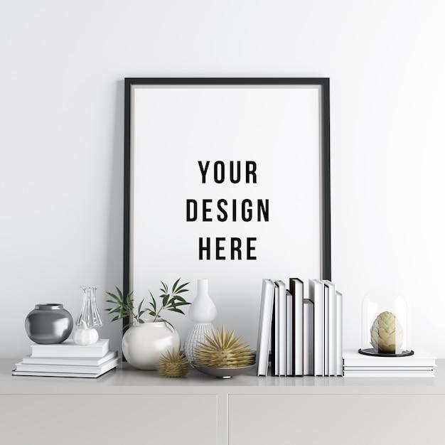 Poster poster mockup interior cena com decorações Psd Premium