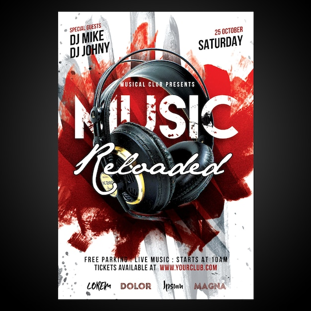 Poster print ready music reloaded Psd Premium