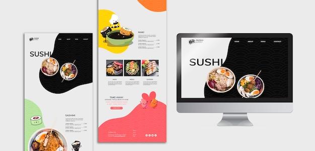 Posts de mídia social do restaurante asiático sushi Psd grátis