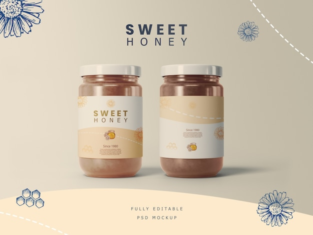 Potes de mel com maquete de etiqueta Psd Premium