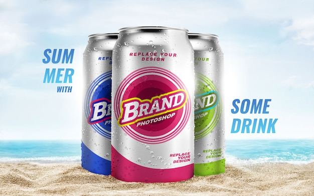 Praia de verão pode maquete de publicidade Psd Premium