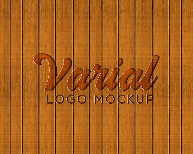Prancha de madeira pressionada maquete de logotipo Psd Premium