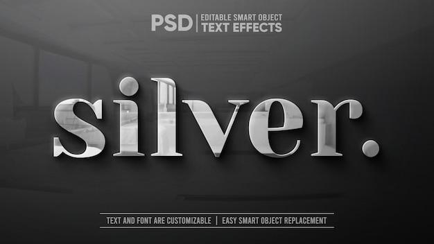 Prata limpa com reflexo na maquete de efeito de texto editável em granito Psd Premium
