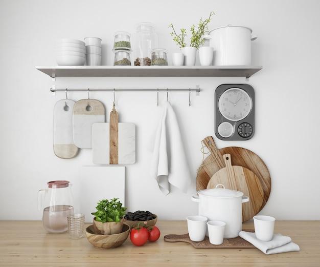 Prateleiras realistas em uma cozinha com utensílios Psd grátis