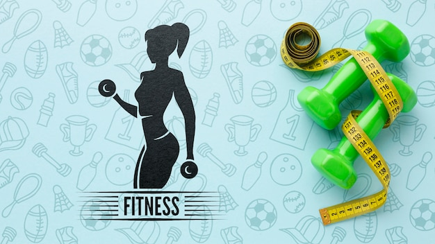 Prática de fitness com pesos de mão Psd grátis