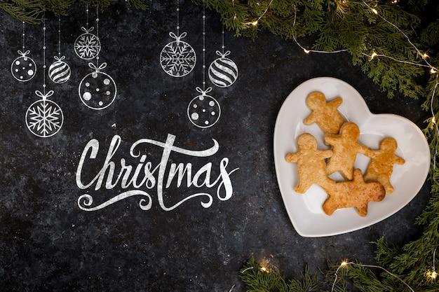 Prato com pão de gengibre para o natal Psd grátis