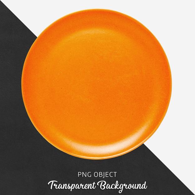 Prato de cerâmica redondo laranja em fundo transparente Psd Premium