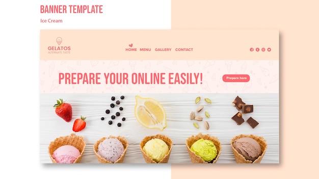 Prepare o seu modelo de banner de sorvete on-line Psd grátis