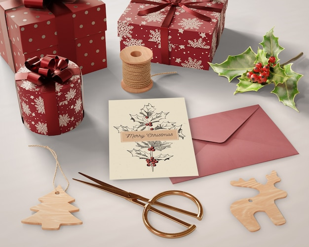 Presentes e cartões de preparações de natal Psd grátis