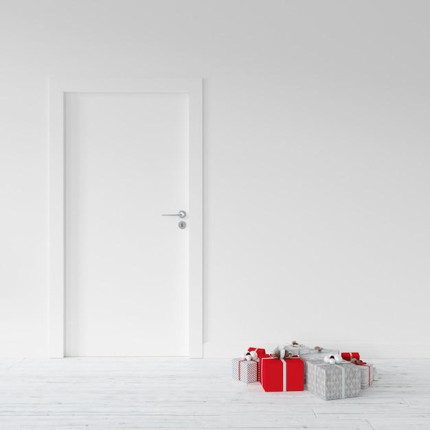 Presentes embrulhados por uma porta Psd grátis
