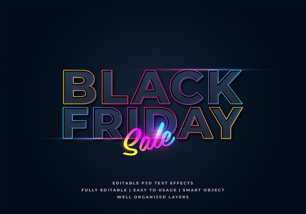 Preto sexta-feira venda texto estilo efeito maquete Psd Premium