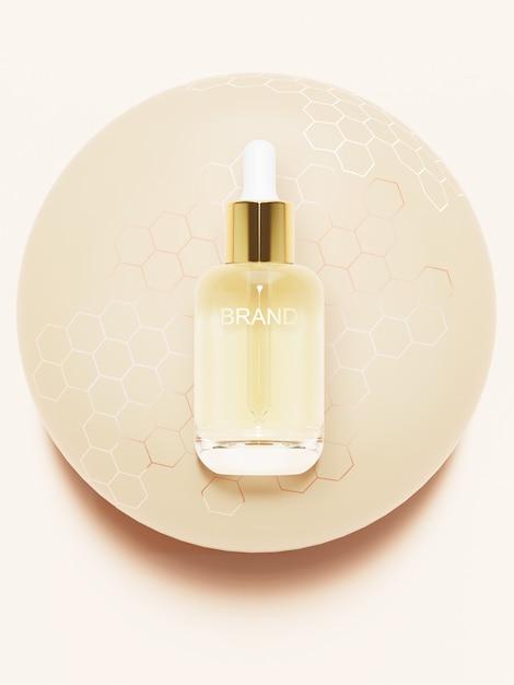 Produto de beleza na bola de mel. ilustração 3d Psd Premium