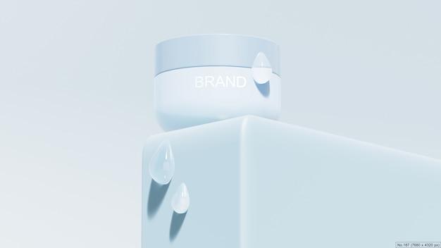 Produto de beleza no pódio azul com bolha de água. renderização 3d Psd Premium
