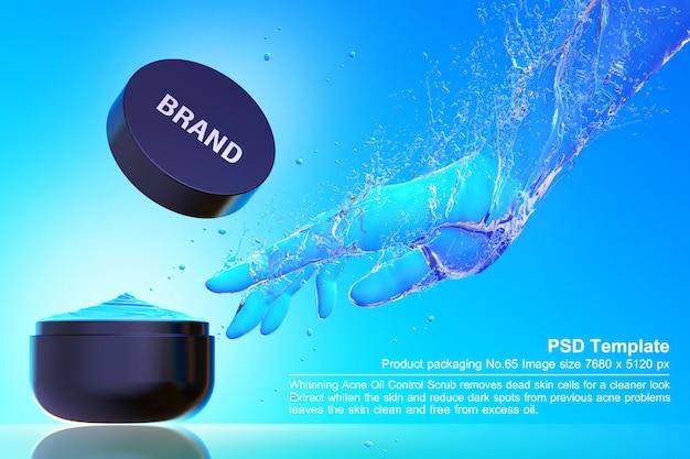 Produto de beleza preto no fundo da água azul 3d render Psd Premium