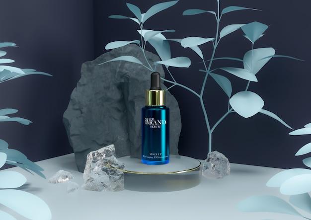 Produto de cuidado da pele com soro em embalagem elegante. Psd Premium