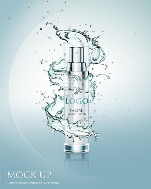 Produto hidratante cosmético com respingos de água Psd Premium