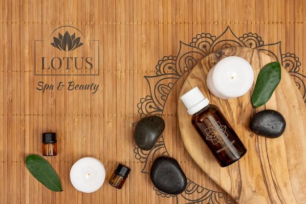 Produtos orgânicos oleosos para tratamentos no spa Psd grátis