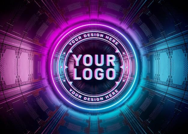 Projeção de logotipo em estilo neon em maquete subterrânea Psd Premium