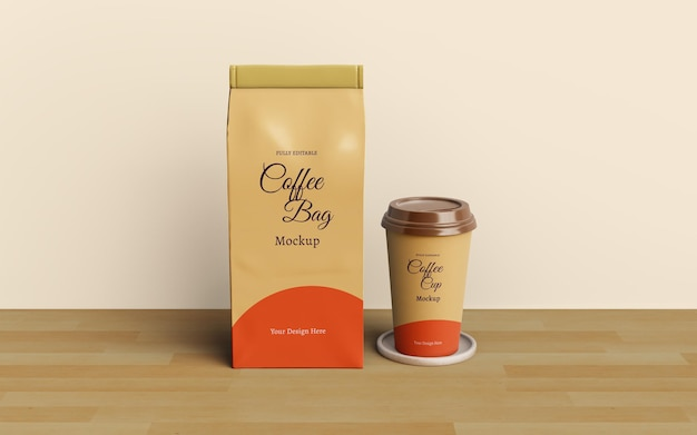 Projeto da embalagem do saco de café e da xícara de café Psd Premium