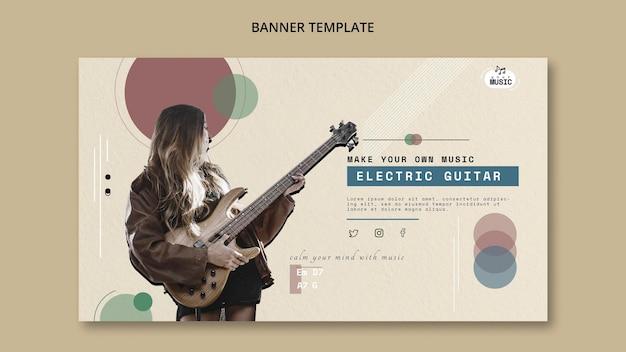 Projeto de banner de aulas de guitarra elétrica Psd grátis