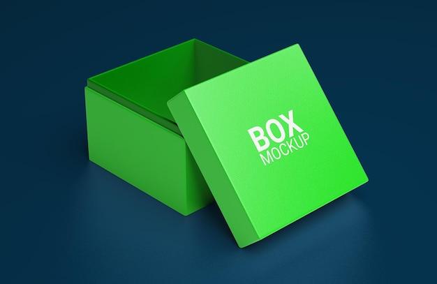 Projeto de maquete de caixa quadrada simples aberta Psd Premium