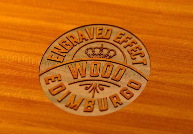 Projeto de maquete de fffect de madeira gravada isolado Psd Premium