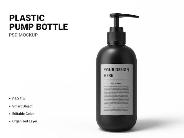 Projeto de maquete de garrafa de bomba de plástico isolado Psd Premium